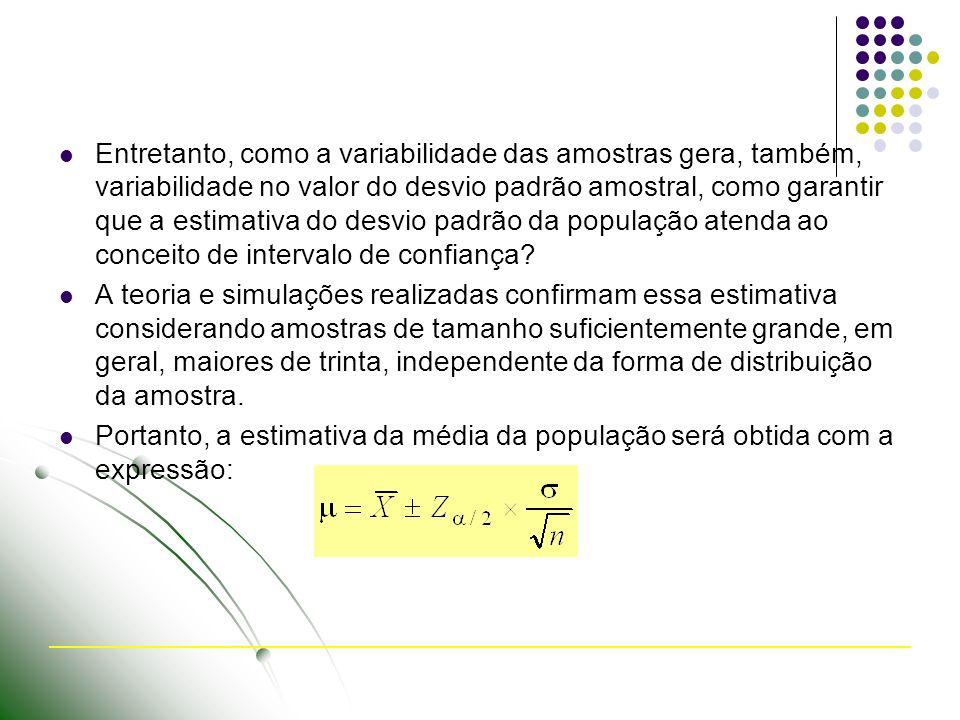 Entretanto, como a variabilidade das amostras gera, também, variabilidade no valor do desvio padrão amostral, como garantir que a estimativa do desvio padrão da população atenda ao conceito de intervalo de confiança