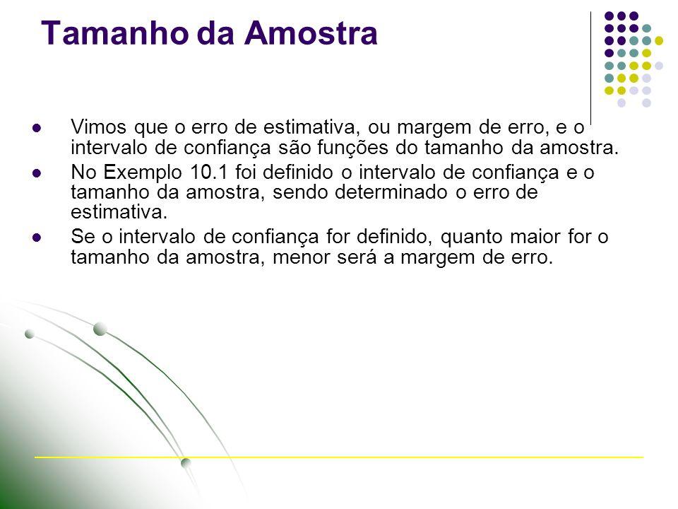 Tamanho da Amostra Vimos que o erro de estimativa, ou margem de erro, e o intervalo de confiança são funções do tamanho da amostra.