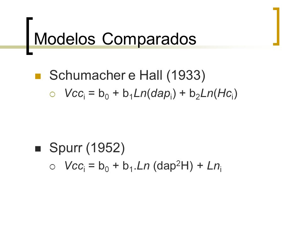 Modelos Comparados Schumacher e Hall (1933) Spurr (1952)