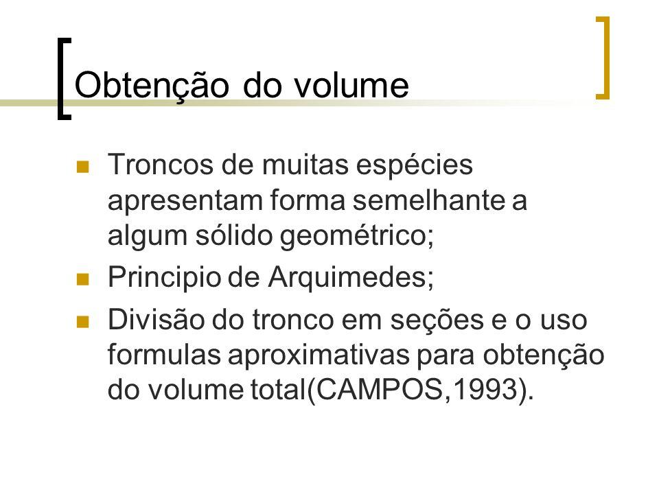 Obtenção do volume Troncos de muitas espécies apresentam forma semelhante a algum sólido geométrico;