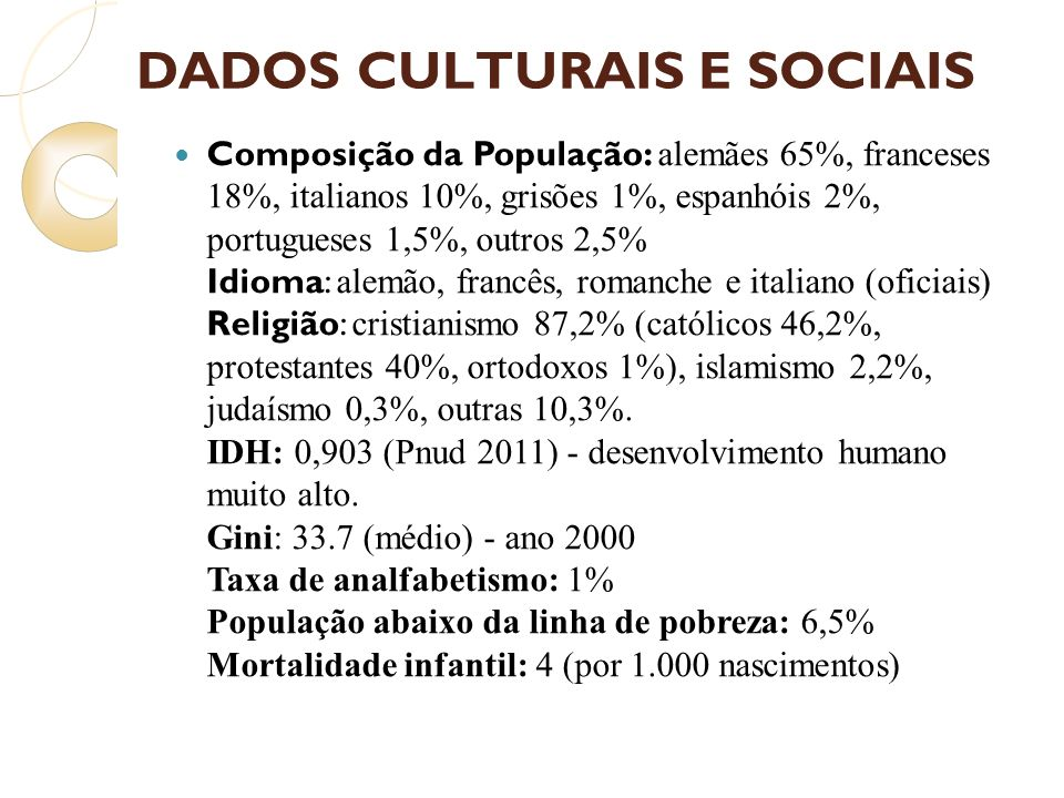 DADOS CULTURAIS E SOCIAIS
