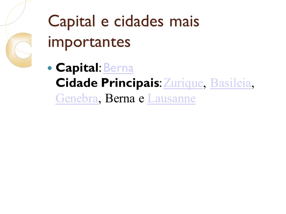 Capital e cidades mais importantes