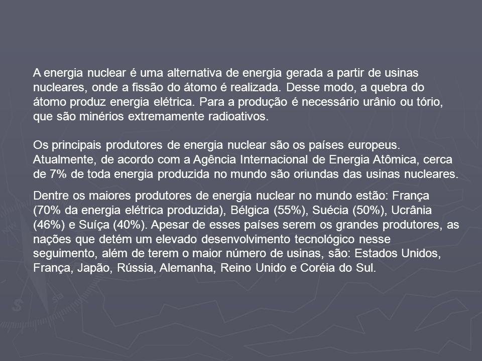 A energia nuclear é uma alternativa de energia gerada a partir de usinas nucleares, onde a fissão do átomo é realizada. Desse modo, a quebra do átomo produz energia elétrica. Para a produção é necessário urânio ou tório, que são minérios extremamente radioativos. Os principais produtores de energia nuclear são os países europeus. Atualmente, de acordo com a Agência Internacional de Energia Atômica, cerca de 7% de toda energia produzida no mundo são oriundas das usinas nucleares.