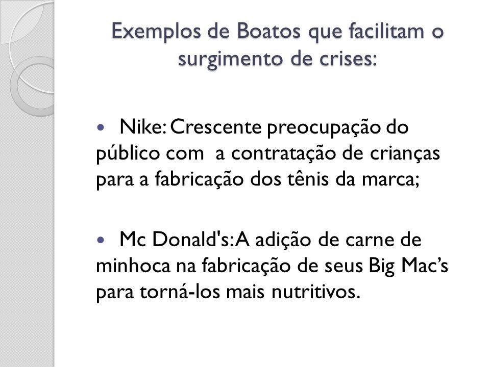 Exemplos de Boatos que facilitam o surgimento de crises: