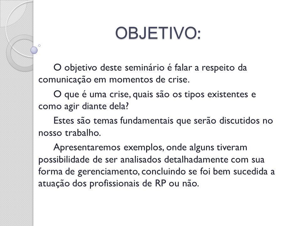 OBJETIVO: O objetivo deste seminário é falar a respeito da comunicação em momentos de crise.