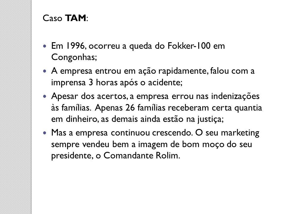 Caso TAM: Em 1996, ocorreu a queda do Fokker-100 em Congonhas; A empresa entrou em ação rapidamente, falou com a imprensa 3 horas após o acidente;