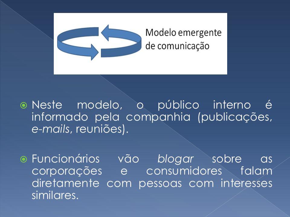 Neste modelo, o público interno é informado pela companhia (publicações, e-mails, reuniões).