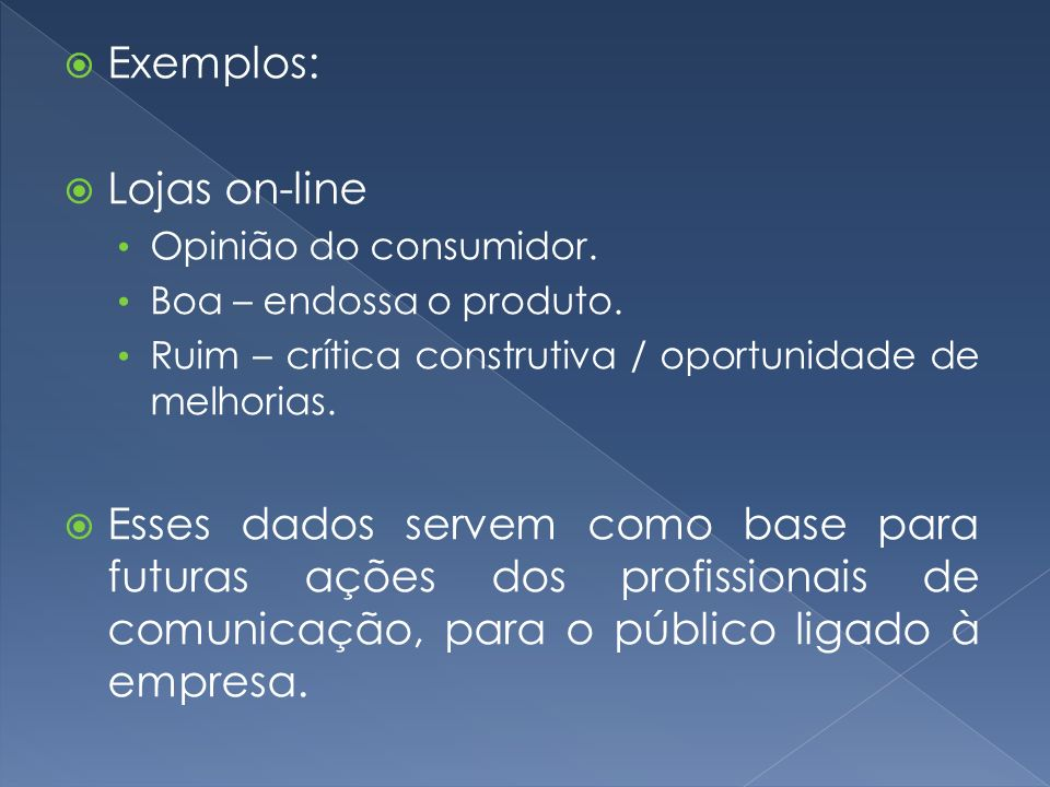 Exemplos: Lojas on-line