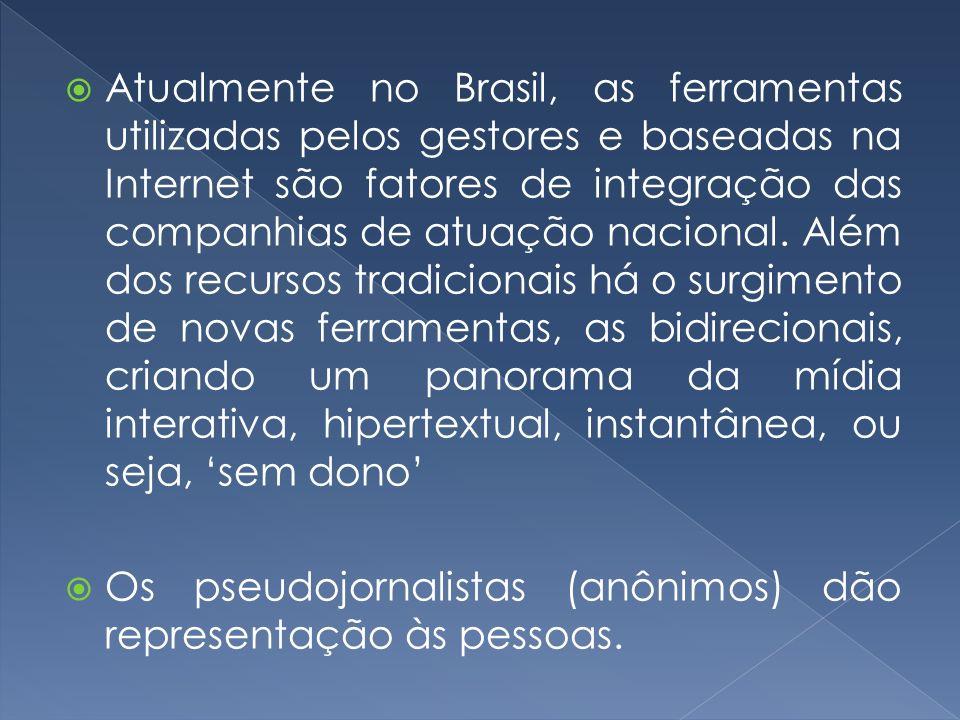 Atualmente no Brasil, as ferramentas utilizadas pelos gestores e baseadas na Internet são fatores de integração das companhias de atuação nacional. Além dos recursos tradicionais há o surgimento de novas ferramentas, as bidirecionais, criando um panorama da mídia interativa, hipertextual, instantânea, ou seja, 'sem dono'