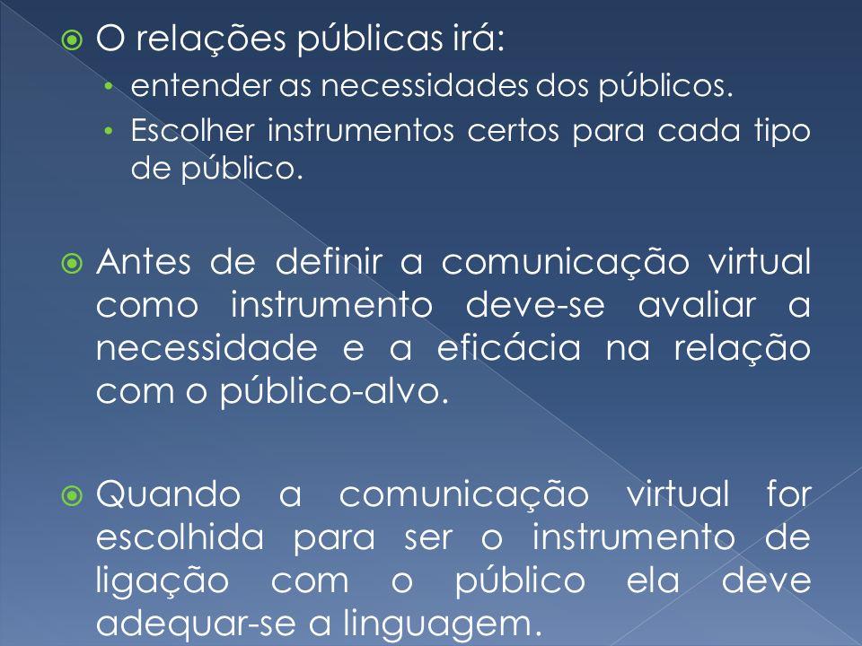 O relações públicas irá:
