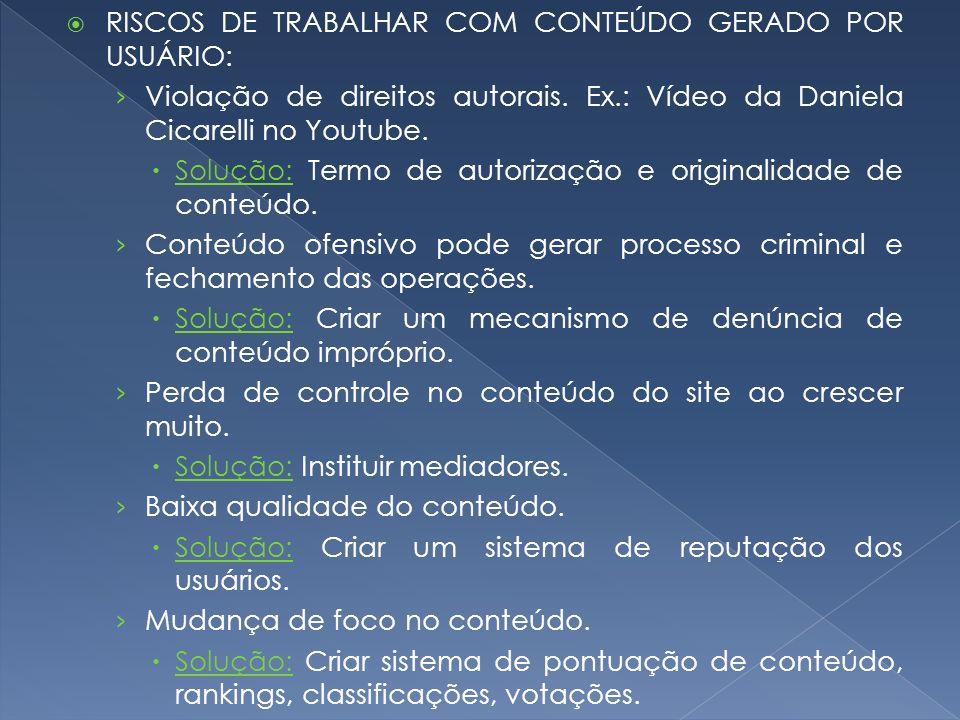 RISCOS DE TRABALHAR COM CONTEÚDO GERADO POR USUÁRIO: