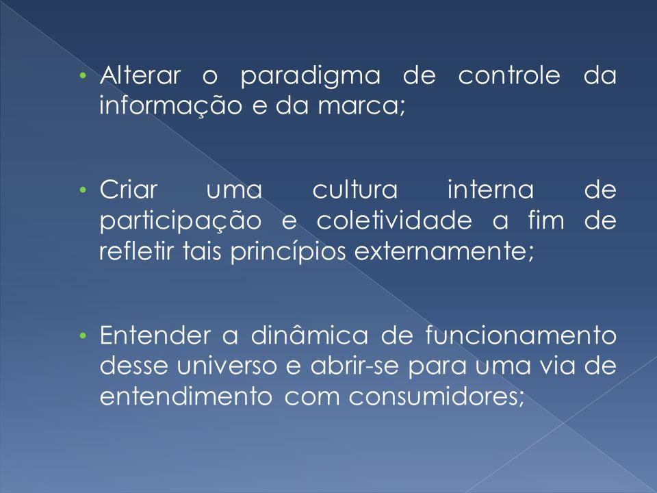 Alterar o paradigma de controle da informação e da marca;