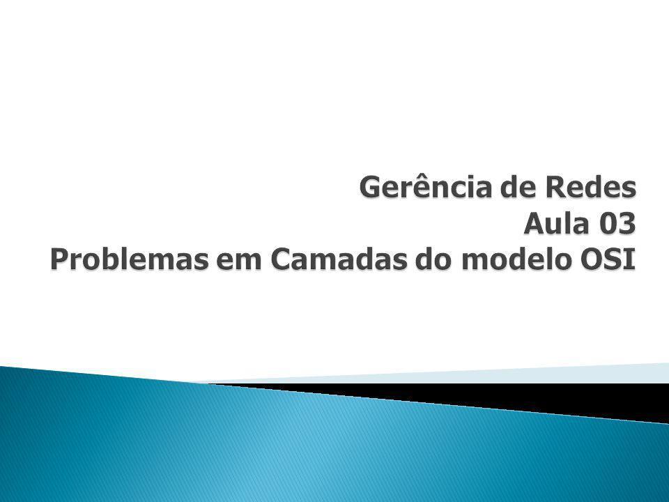 Gerência de Redes Aula 03 Problemas em Camadas do modelo OSI