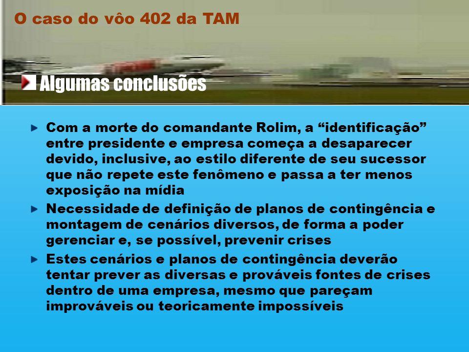 Algumas conclusões O caso do vôo 402 da TAM