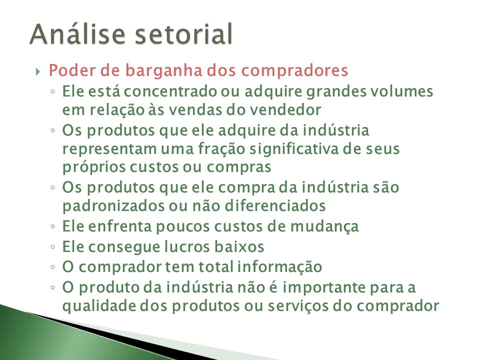 Análise setorial Poder de barganha dos compradores