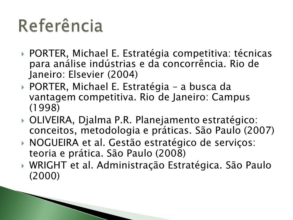 Referência PORTER, Michael E. Estratégia competitiva: técnicas para análise indústrias e da concorrência. Rio de Janeiro: Elsevier (2004)