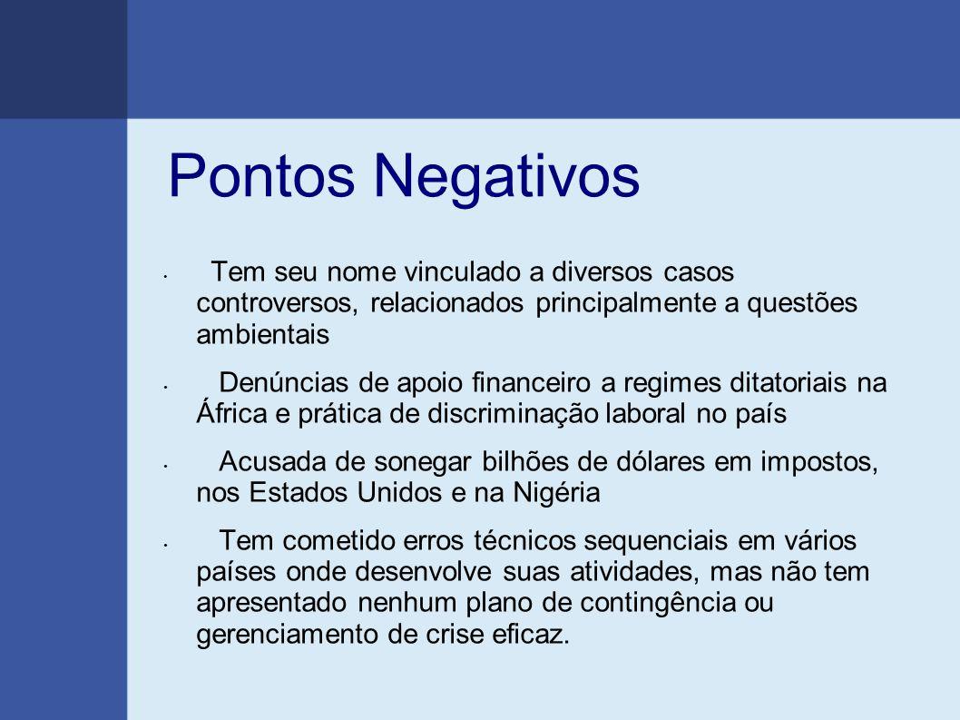 Pontos Negativos Tem seu nome vinculado a diversos casos controversos, relacionados principalmente a questões ambientais.