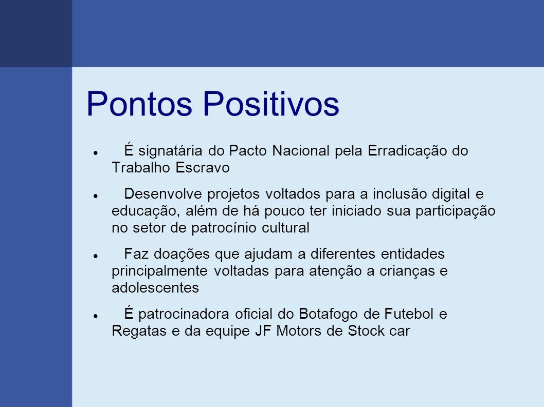 Pontos Positivos É signatária do Pacto Nacional pela Erradicação do Trabalho Escravo.