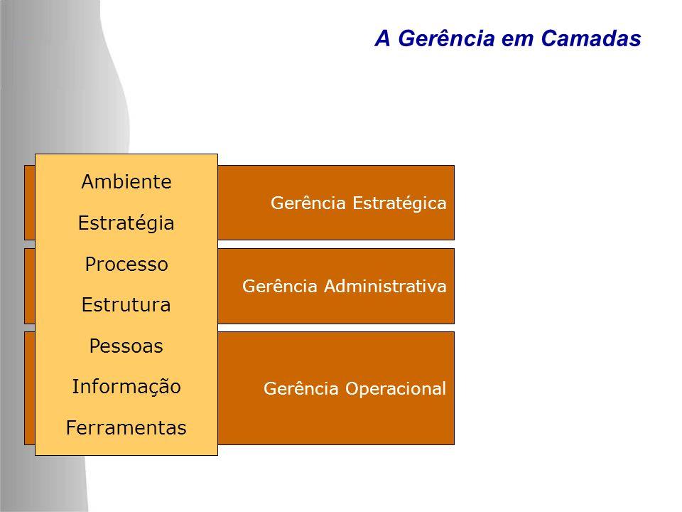 A Gerência em Camadas Ambiente Estratégia Processo Estrutura Pessoas