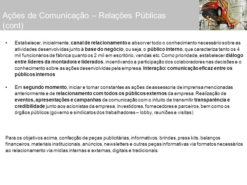 Ações de Comunicação – Relações Públicas (cont)