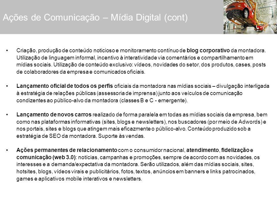 Ações de Comunicação – Mídia Digital (cont)