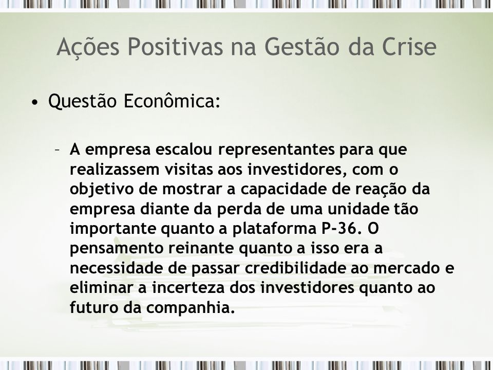Ações Positivas na Gestão da Crise