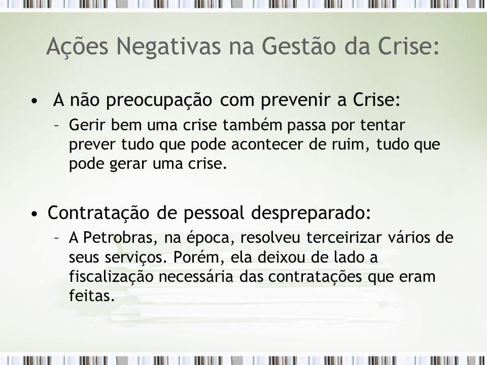 Ações Negativas na Gestão da Crise: