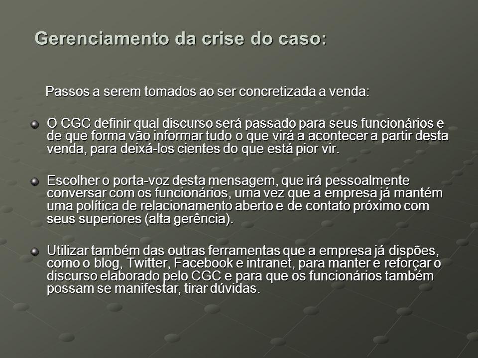 Gerenciamento da crise do caso: