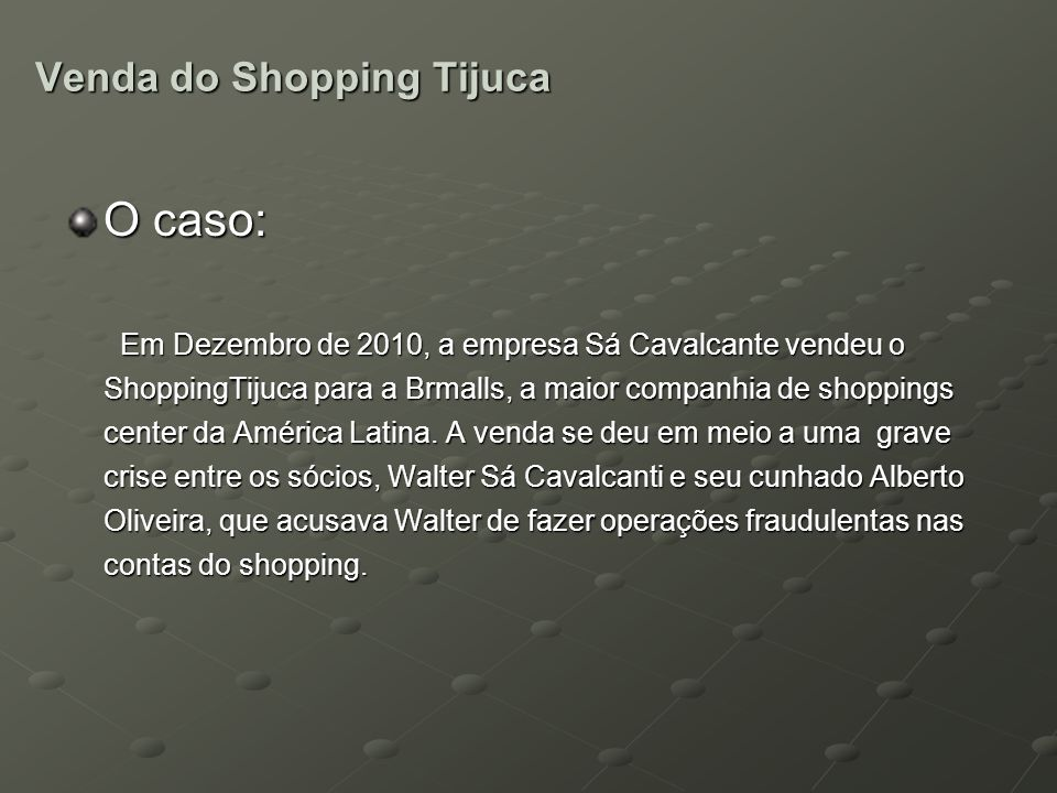 Venda do Shopping Tijuca