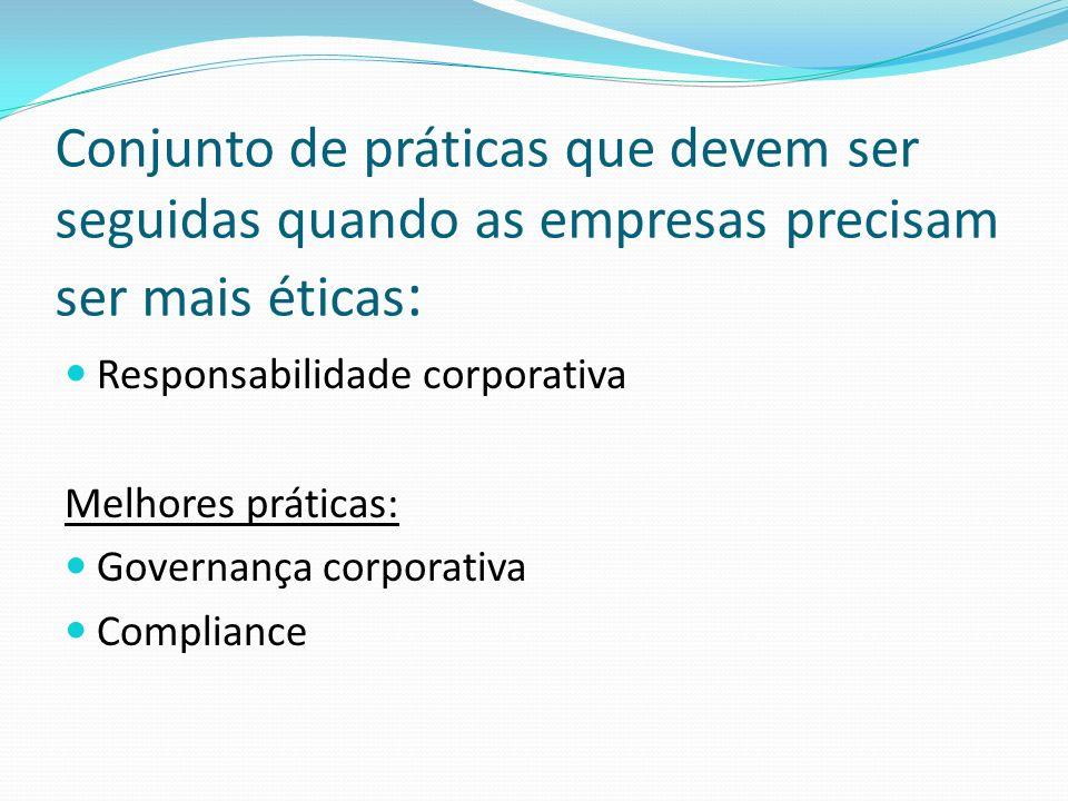 Conjunto de práticas que devem ser seguidas quando as empresas precisam ser mais éticas: