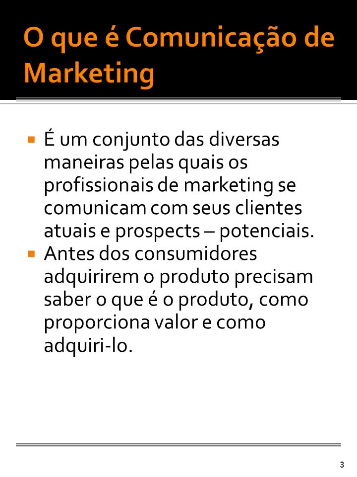 O que é Comunicação de Marketing