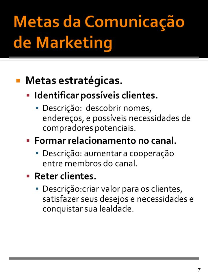Metas da Comunicação de Marketing