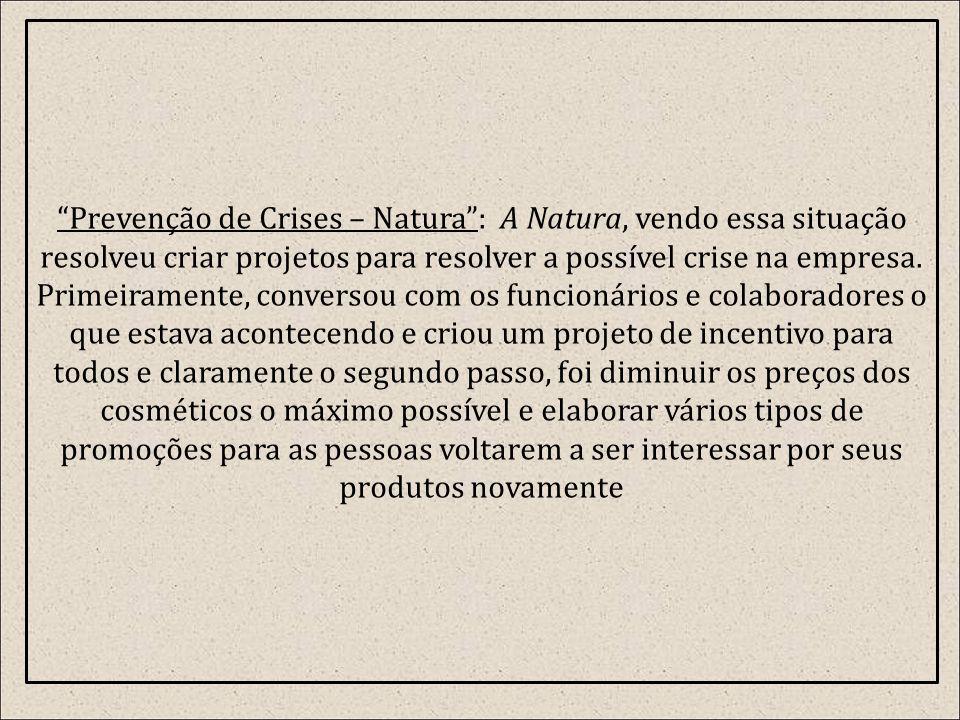 Prevenção de Crises – Natura : A Natura, vendo essa situação resolveu criar projetos para resolver a possível crise na empresa.