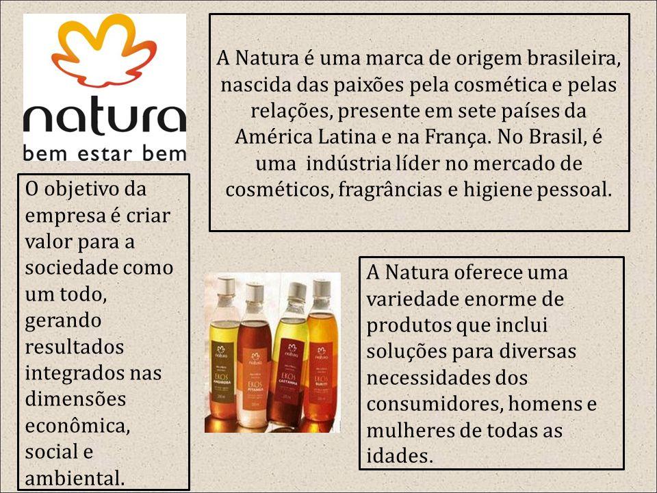 A Natura é uma marca de origem brasileira, nascida das paixões pela cosmética e pelas relações, presente em sete países da América Latina e na França. No Brasil, é uma indústria líder no mercado de cosméticos, fragrâncias e higiene pessoal.