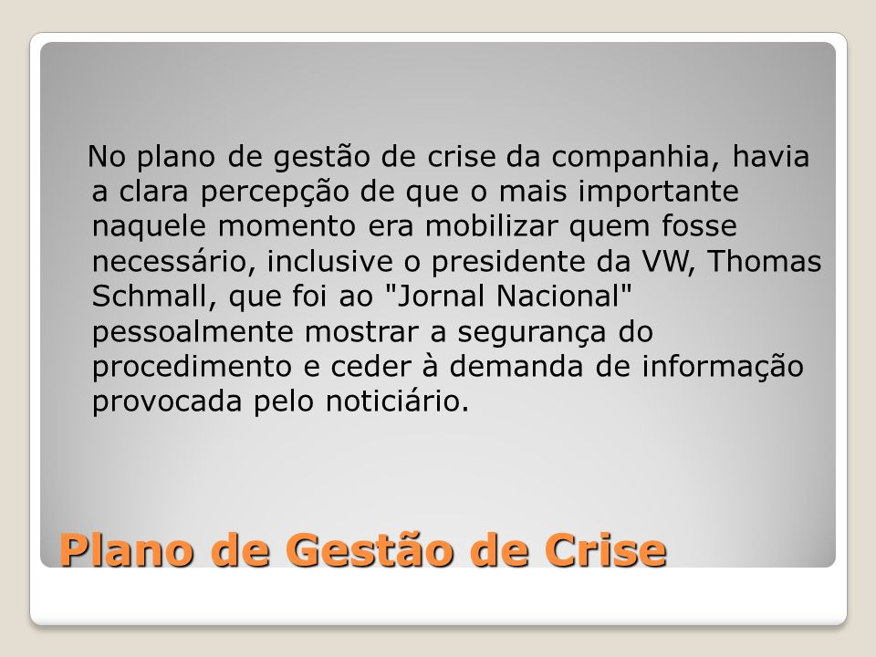Plano de Gestão de Crise