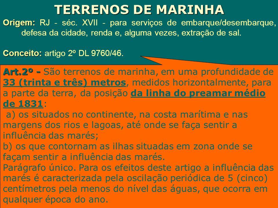 TERRENOS DE MARINHA Origem: RJ - séc. XVII - para serviços de embarque/desembarque, defesa da cidade, renda e, alguma vezes, extração de sal.