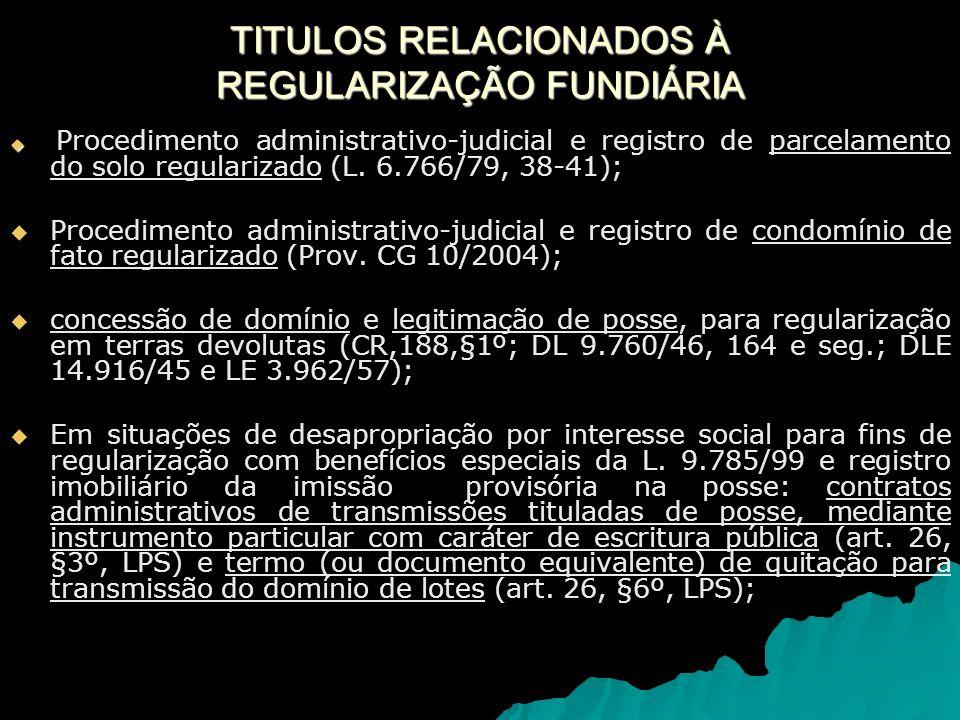 TITULOS RELACIONADOS À REGULARIZAÇÃO FUNDIÁRIA
