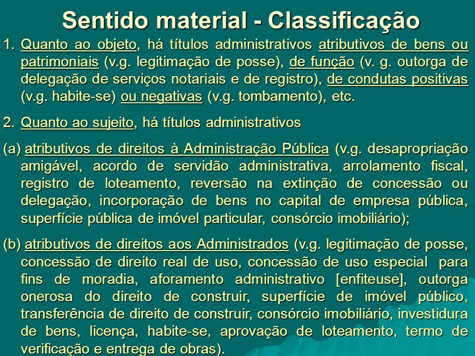 Sentido material - Classificação