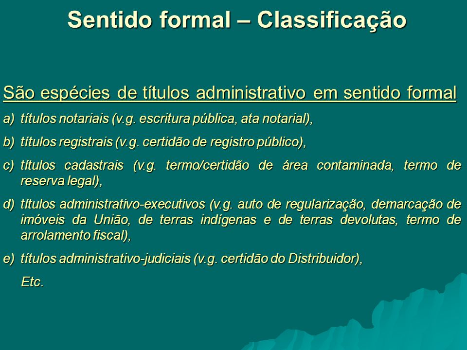 Sentido formal – Classificação