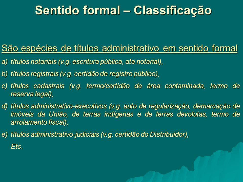 Sentido formal – Classificação