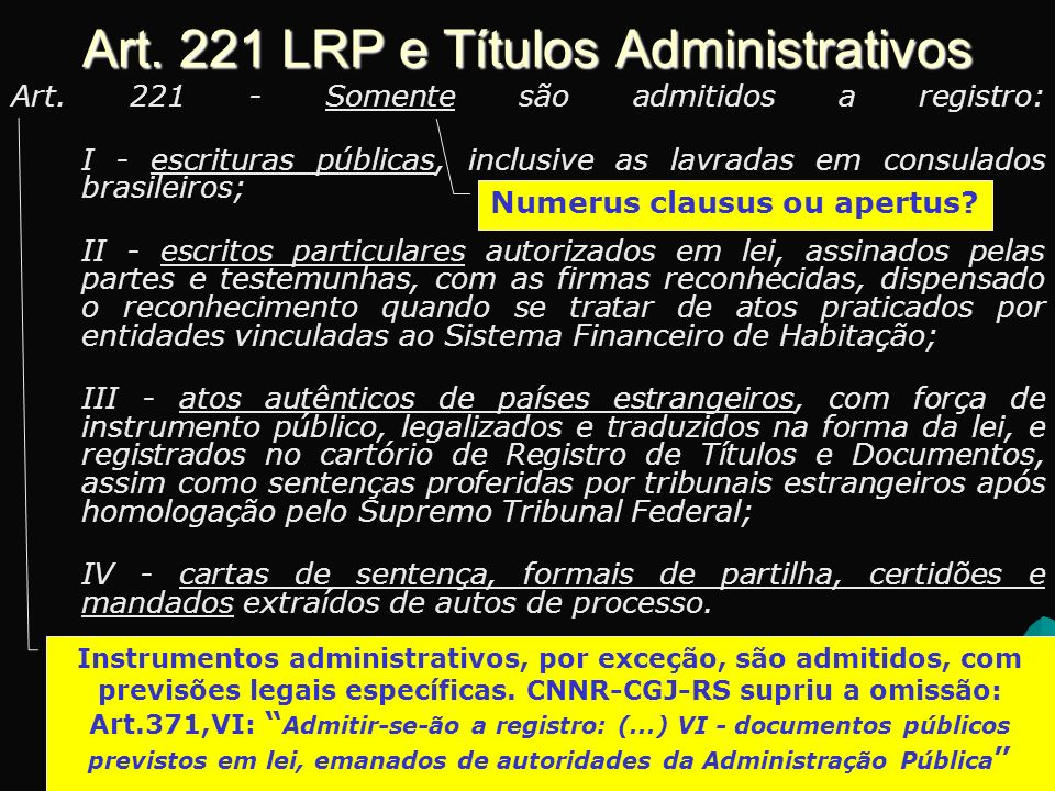 Art. 221 LRP e Títulos Administrativos