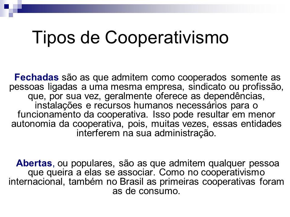 Tipos de Cooperativismo