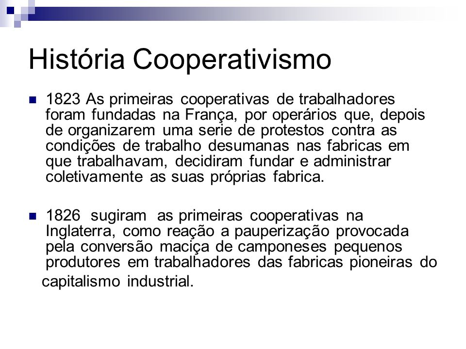 História Cooperativismo