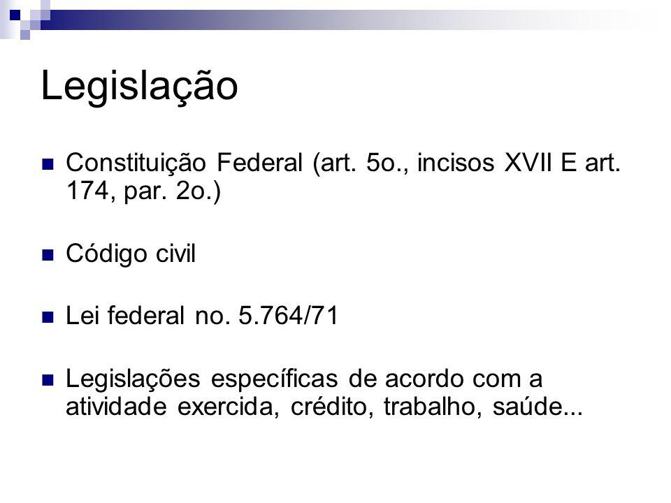 Legislação Constituição Federal (art. 5o., incisos XVII E art. 174, par. 2o.) Código civil. Lei federal no. 5.764/71.