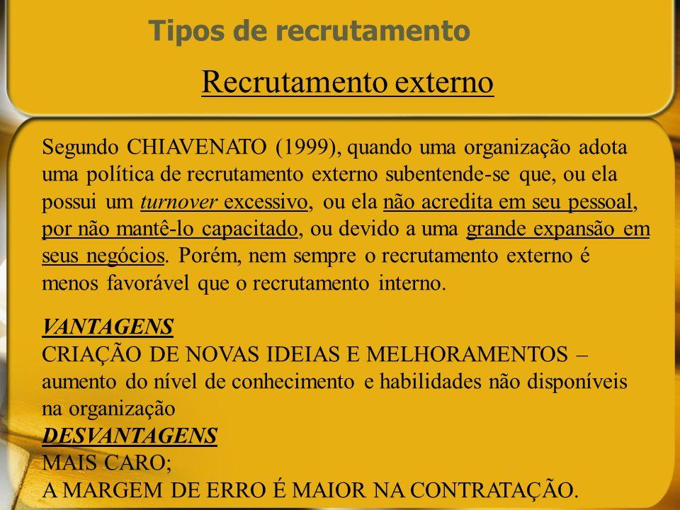 Recrutamento externo Tipos de recrutamento