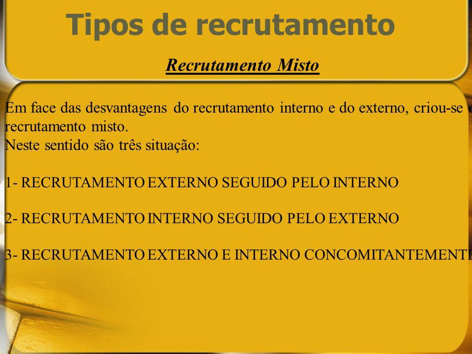 Tipos de recrutamento Recrutamento Misto