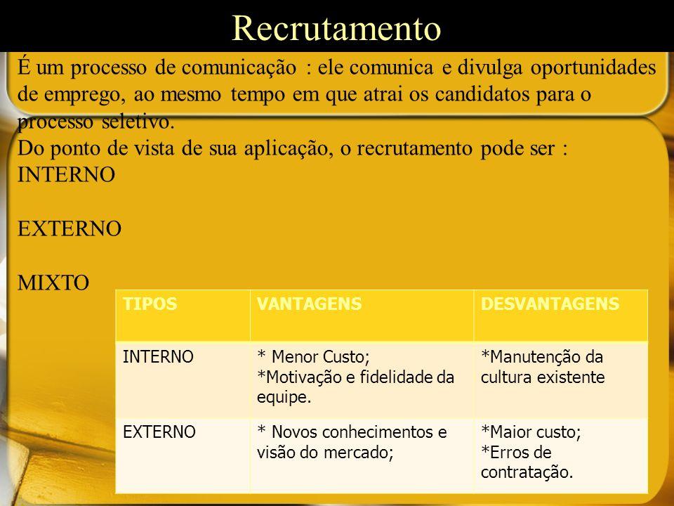 É um processo de comunicação : ele comunica e divulga oportunidades de emprego, ao mesmo tempo em que atrai os candidatos para o processo seletivo.