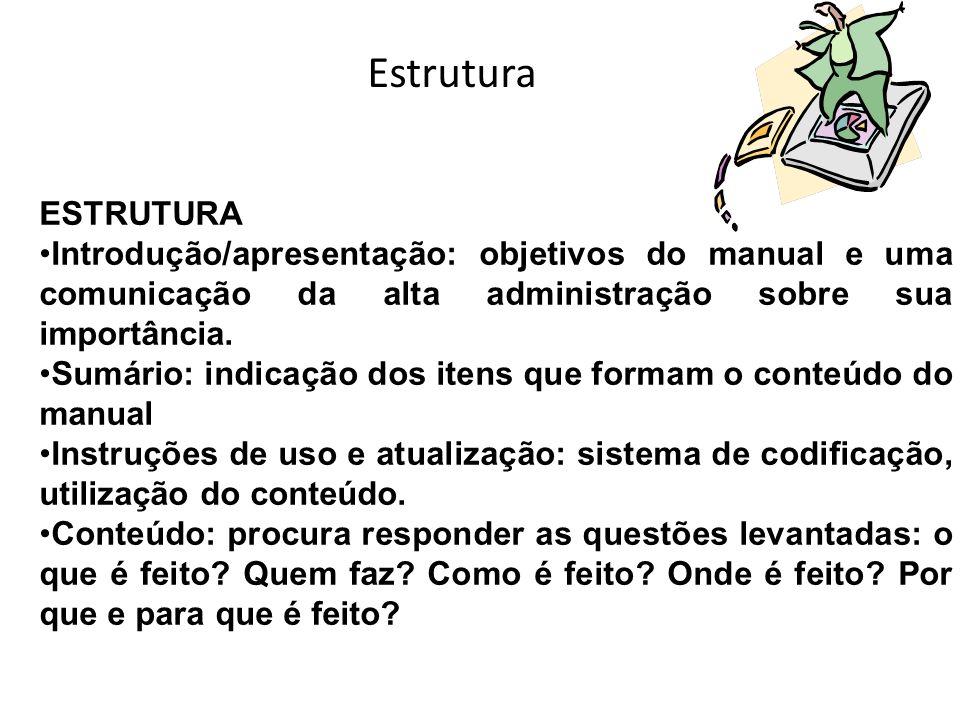 Estrutura ESTRUTURA. Introdução/apresentação: objetivos do manual e uma comunicação da alta administração sobre sua importância.
