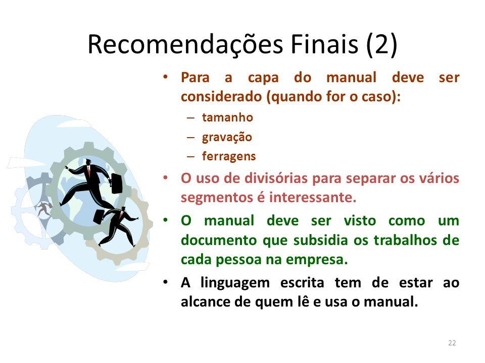 Recomendações Finais (2)