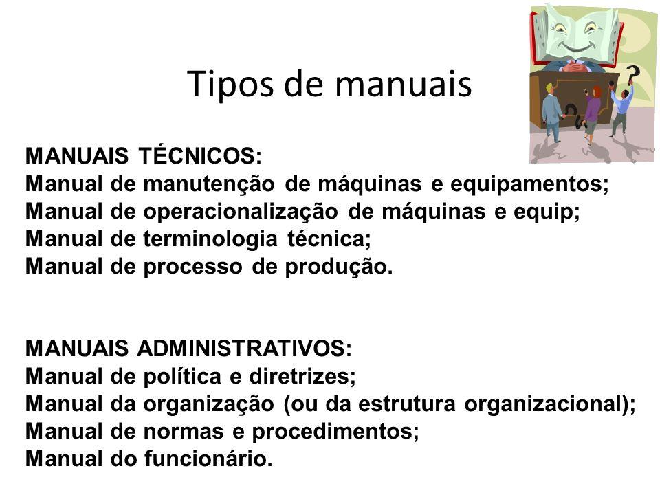 Tipos de manuais MANUAIS TÉCNICOS: